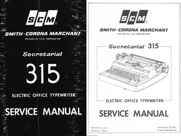 Smith-Corona Secretarial 315 Electric Typewriter Service Repair Adjustment Manual