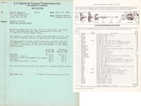 1939-1954 Smith Corona Standard Typewriter Sales & Service Bulletins