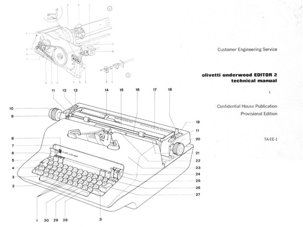 1972 Olivetti Editor 2 Electric Typewriter Service Manual