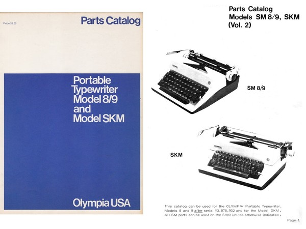 Olympia SM 8 & SM 9 and SKM Portable Parts Manual
