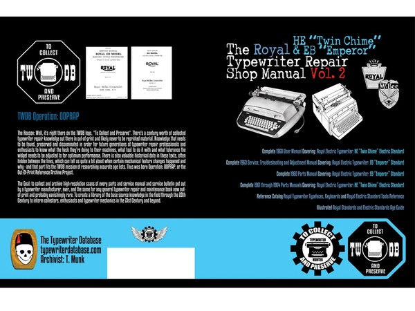"The Royal HE ""Twin Chime"" & EB ""Emperor"" Typewriter Repair Shop Manual Vol. 2"