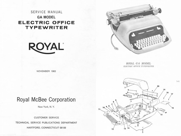 1963 to 1968 Royal GA, 550-560-565 Electric Standard Desktop Typewriter Service Adjustment Manual