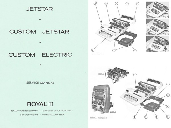 1969 Royal Jetstar Electric Portable Typewriter Service Adjustment Manual