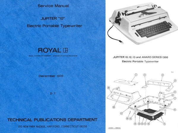 1970 Royal Jupiter 10 12 and Award 1300 Electric Portable Typewriter Service Adjustment Manual