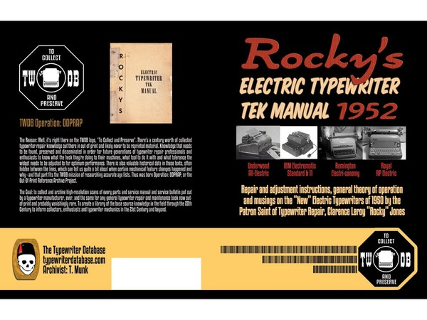 Rocky's Electric Typewriter TEK Manual 1952