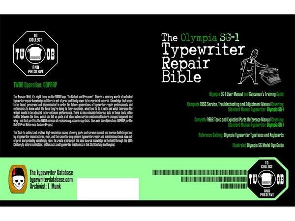 The Olympia SG1 Typewriter Repair Bible