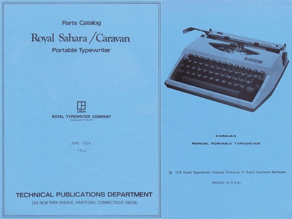 1976 Royal Sahara, Caravan (Adler/Triumph Tippa) Portable Typewriter Parts Manual