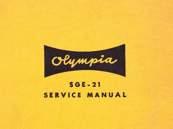 Olympia SGE-21 Electric Typewriter Service Repair Adjustment Manual