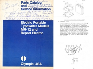 Olympia MR-12 and Report Electric Portable Typewriter Service Repair Adjustment Manual