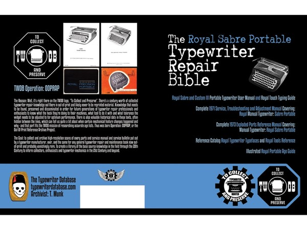 The Royal Sabre Portable Typewriter Repair Bible