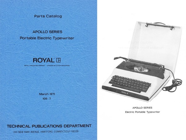 1971 Royal Apollo Electric Typewriter Parts Manual