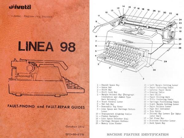Olivetti Linea 98 Typewriter Service Manual 1972
