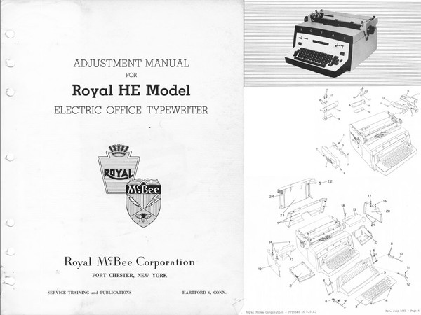 1960 Royal HE, HER & EB Standard Electric Desktop Typewriter Service Adjustment Manual