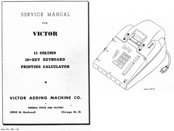 Service Manual for Victor 11 Column 10 Key Printing Calculator