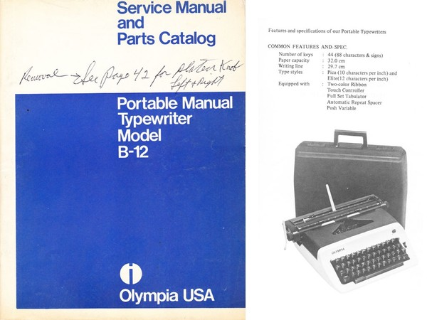 Olympia B-12 Portable Typewriter Service Repair Adjustment Manual