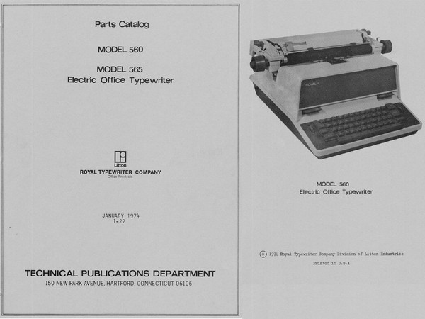 1974 Royal 560 and 565 Electric Standard Typewriter Parts Manual