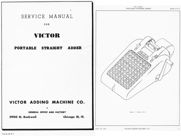 Service Manual and Parts Catalog for Victor 6 and 7 Line Straight Adders