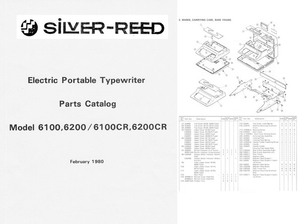 Silver-Reed 6100, 6200, 6100CR, 6200CR Series Electric Typewriter Parts Manual