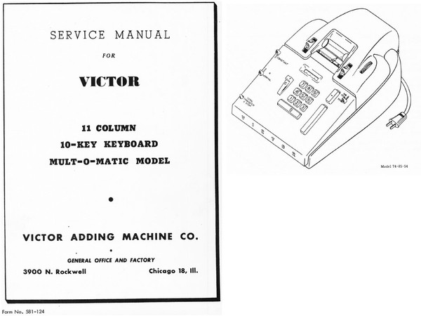 Service Manual for Victor 11 Column 10 Key Multomatic
