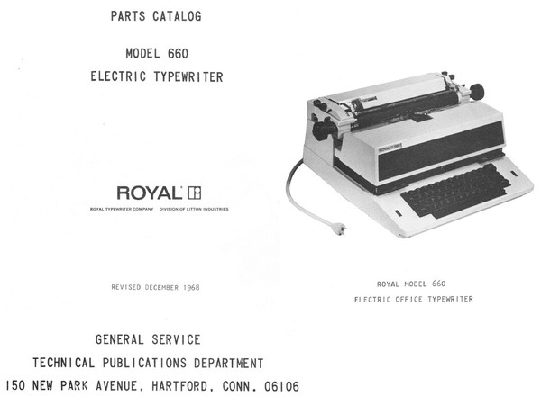 1968 Royal 660 Electric Standard Desktop Typewriter Parts Manual