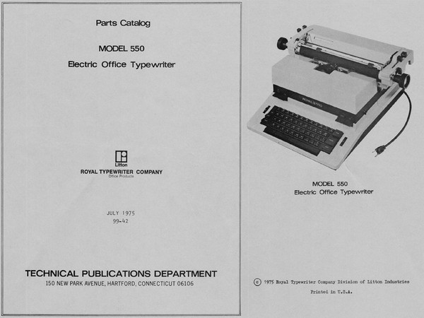 1975 Royal 550 Electric Standard Typewriter Parts Manual