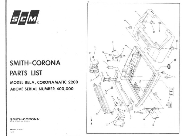 Smith-Corona SCM 8ELA Typewriter Parts Manual