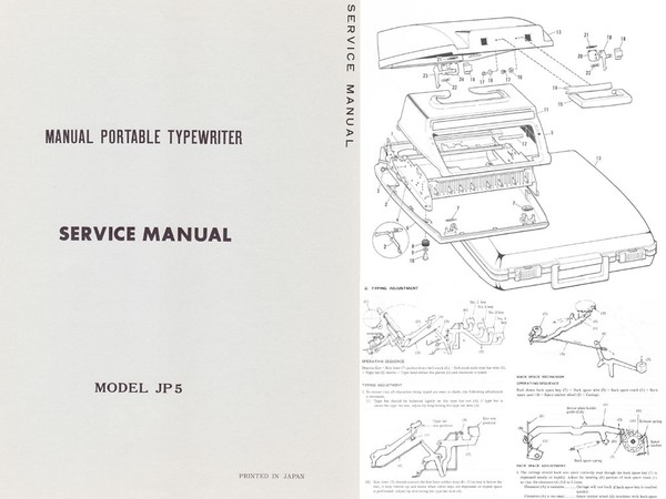 Brother JP-5 Manual Portable Typewriter Repair Adjustment Service Manual