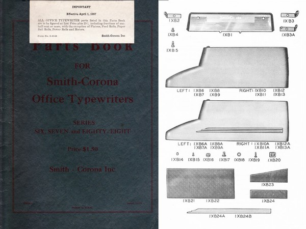 1954 Smith-Corona Series 6 & 7 & 88 Standard Typewriter Parts Manual
