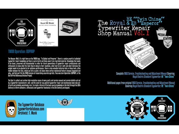"The Royal HE ""Twin Chime"" & EB ""Emperor"" Typewriter Repair Shop Manual Vol. 1"