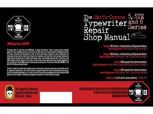 The Smith Corona 5, 5TE and 6 Series Typewriter Repair Shop Manual