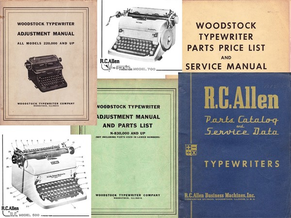 1947-1964 Woodstock & R.C. Allen Typewriter Parts and Service Adjustment Manual