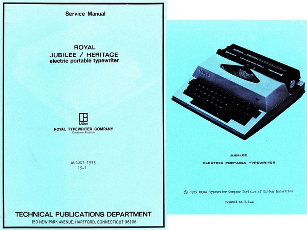 1975 Royal Jubilee and Heritage Electric Portable Typewriter Service Adjustment Manual