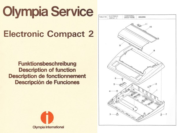 Olympia Electronic Compact 2 Typewriter Parts and Service Manual 1984