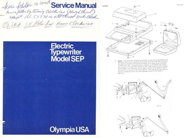 Olympia SEP Electric Portable Typewriter Service Repair Adjustment Manual