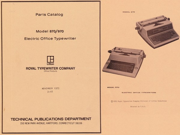 1975 Royal 870 and 970 Electric Standard Typewriter Parts Manual