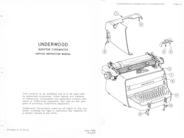 Underwood Scriptor Electric Typewriter Service Manual