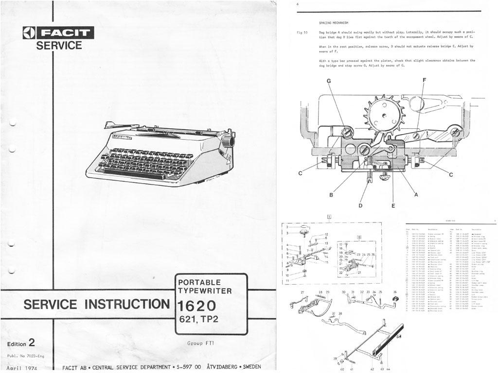 facit 1620 621 tp2 portable typewriter repair adjus rh sellfy com Facit Watch FACT-G Questionnaire