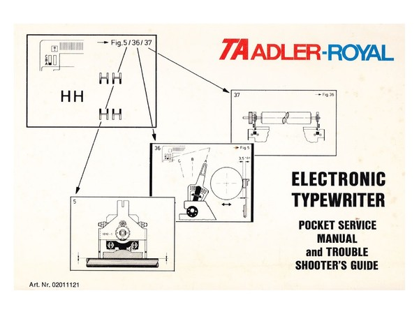 TA Adler Royal SE 1005 5005 1030 5030 Typewriter Service Manual 1983