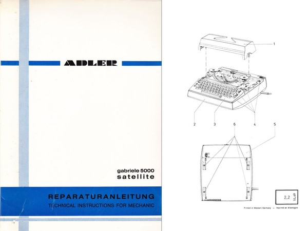 1969 Adler Gabriele 5000 Electric Portable Typewriter Parts, Adjustment and Service Manual