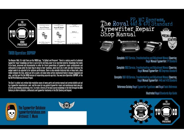 The Royal FP, MC Empress, 440 & 470 Typewriter Repair Shop Manual
