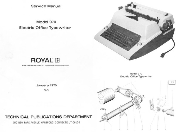 1970 Royal 970 Electric Standard Desktop Typewriter Service Adjustment Manual