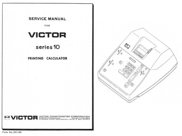 Service Manual for Victor 10 Series Printing Calculator