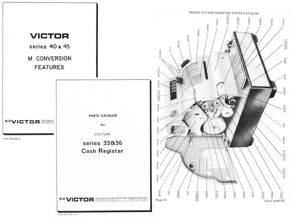 Victor-Hugin Models 40-41-42-45-33-36-2315 Cash Register Parts, Service and Testing Manuals