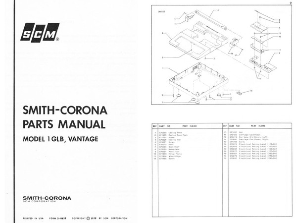 Smith-Corona SCM 1GLB Single-Element Typewriter Parts Manual