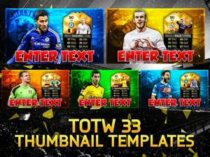 FIFA 16 TOTW 33 PLAYER THUMBNAIL TEMPLATES