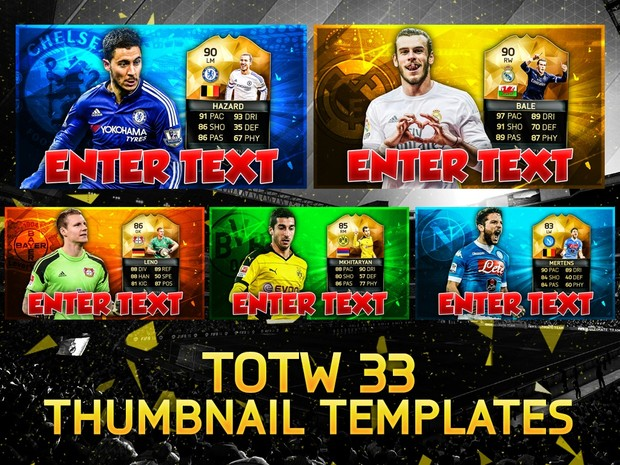 FIFA 16 TOTW 33 PLAYER THUMBNAIL TEMPLATES