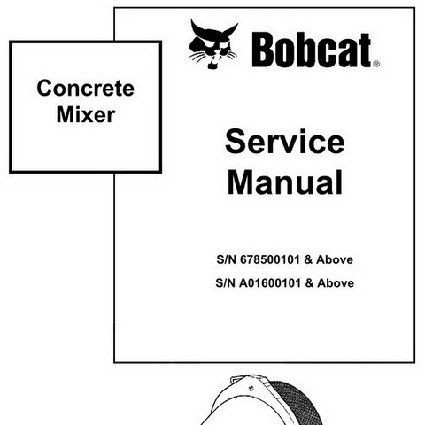 Bobcat Concrete Mixer Repair Service Manual - 6900884