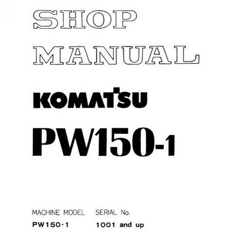 Komatsu PW150-1 Hydraulic Excavator Shop Manual (1001 and up) - SEBM020E0104
