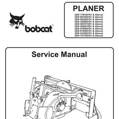 Bobcat Planer Repair Service Manual - 6900886