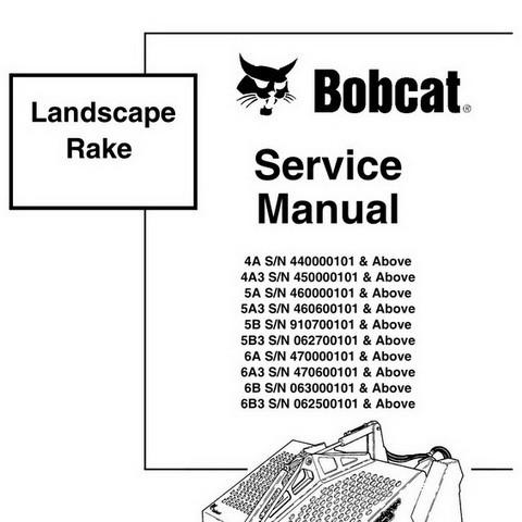 Bobcat Landscape Rake Repair Service Manual - 6900890